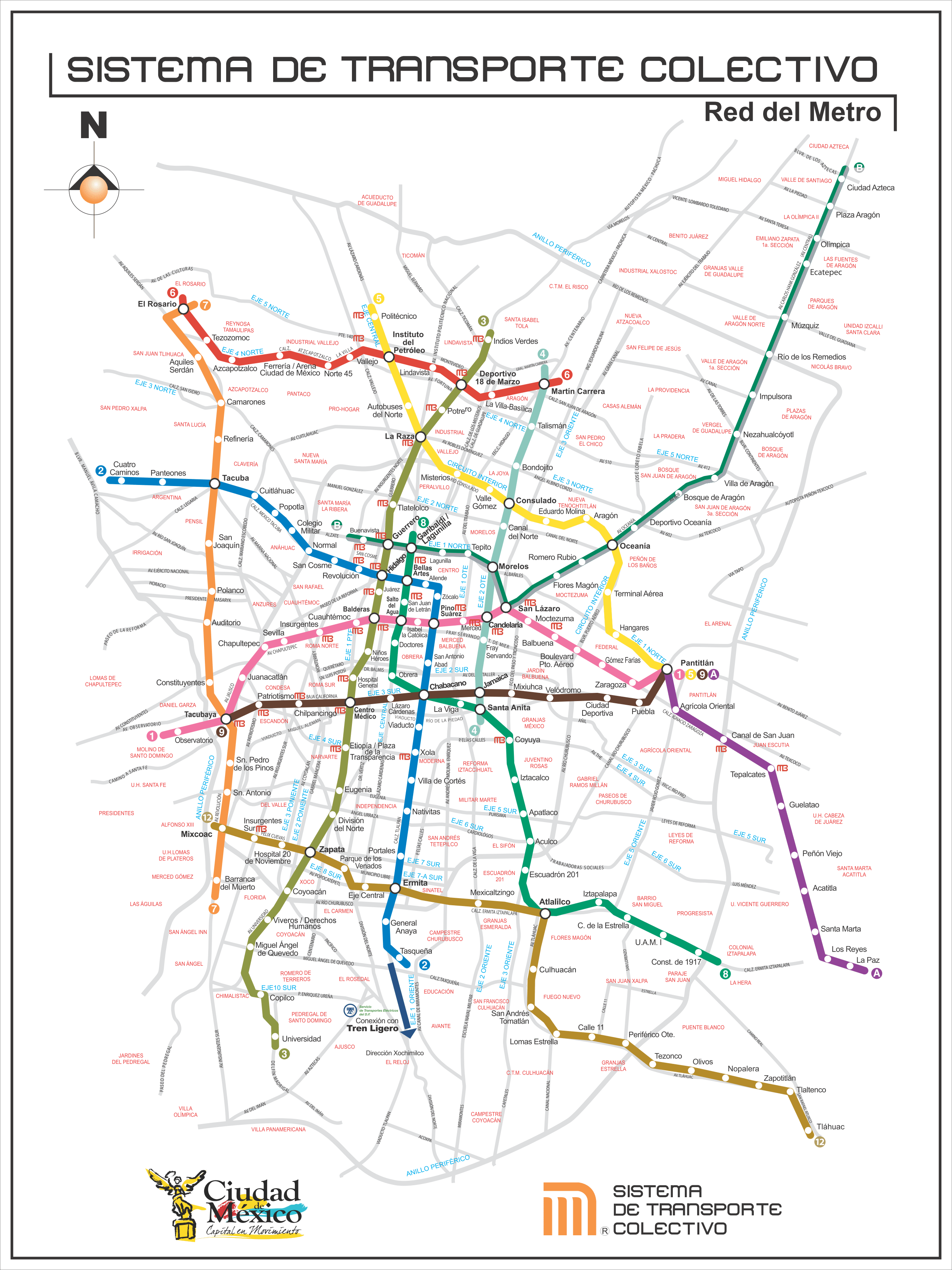 Mapa del metro de México DF con línea 12 (dorada)